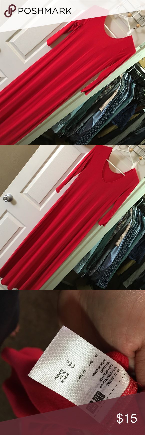 Uniqlo Dress EUC. Stretchy. Red. 3/4 sleeves. Accepting offers Uniqlo Dresses