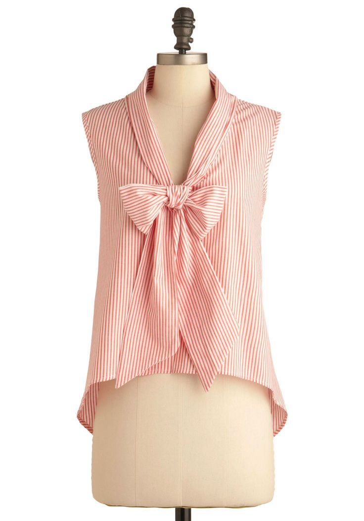 Learn to Play O-bow Top - Short, Stripes, Casual, Sleeveless, Pink, White, Nautical, Summer
