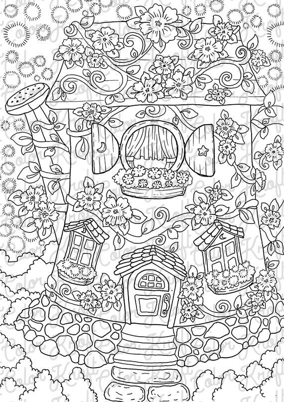 Watering Can House Of Ten Coloring Page Digital Download Etsy Coloring Pages Abstract Coloring Pages Fairy Coloring Pages
