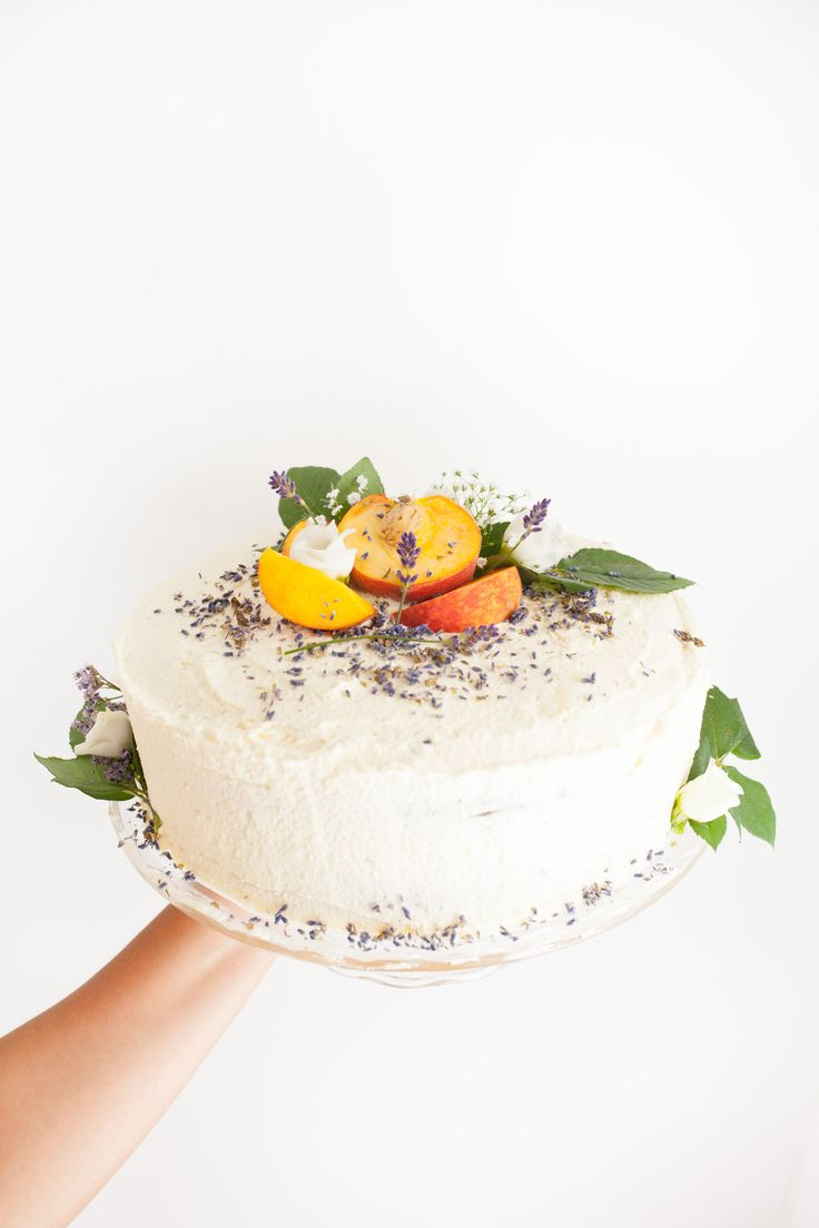 Peach & Lavender Layer Cake with White Chocolate Cream Frosting <3 by Cake Me! Oslo  Check out www.facebook.com/cakemeoslo