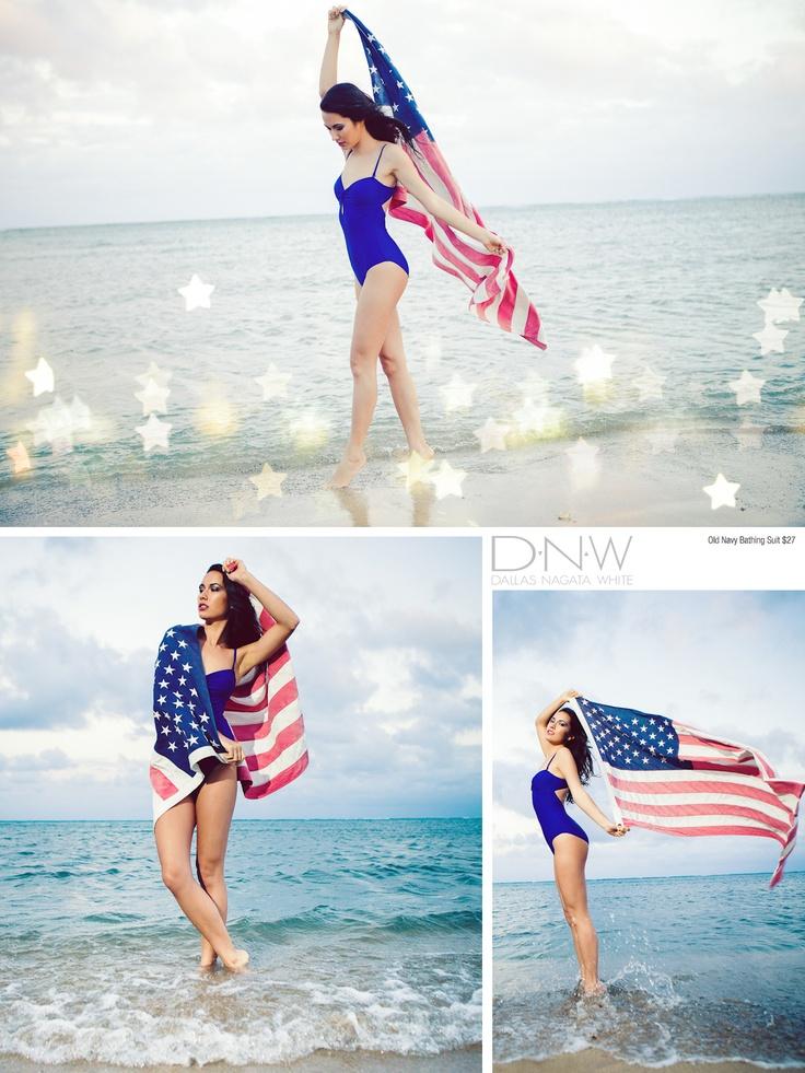 American flag and the beach. <3  Americana 2012 | Dallas Nagata White