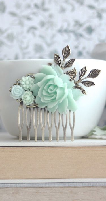 Mint Flower Hair Comb. Shades of Mint Wedding, Bridesmaid Gifts, Wedding Bridal, Mint Rustic Wedding, Summer Mint Wedding, Mint Green Comb by Marolsha - https://www.etsy.com/listing/232946461/mint-flower-hair-comb-shades-of-mint?ref=shop_home_active_1