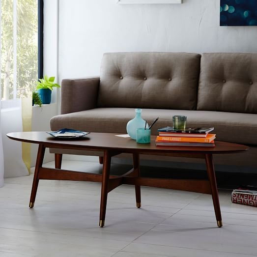 Reeve Mid-Century Oval Coffee Table - Pecan