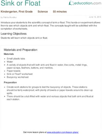 Lesson Plans for Kindergarten Science Education science - lesson plan objectives