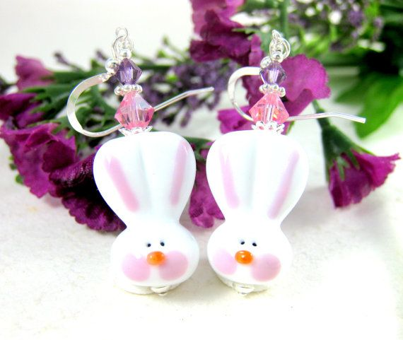 Easter Earrings Easter Bunny Earrings by GlassRiverJewelry on Etsy