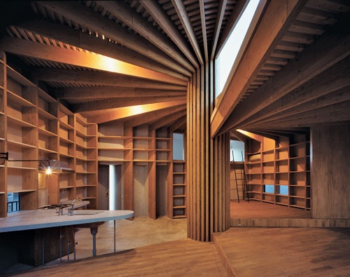 Interior Design Japanese Tree House In Tokyo The Is Divided Into Four Territories By This Central Pillar Similar Format Found
