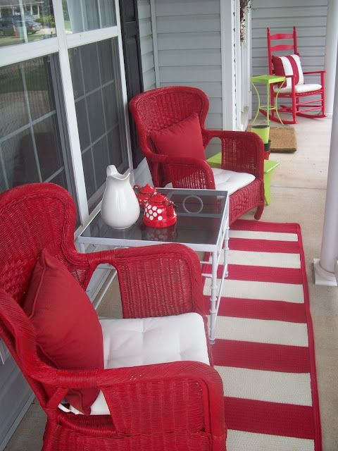 redRed Porches, Decks Colors, Decor Ideas, Cabin Kitchens, Porches Furniture, Winter Porches, Front Decks, Front Porches, Decks Furniture