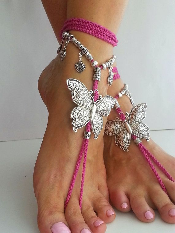 Butterfly barefoot sandals Hippie sandals Black Boho by FiArt