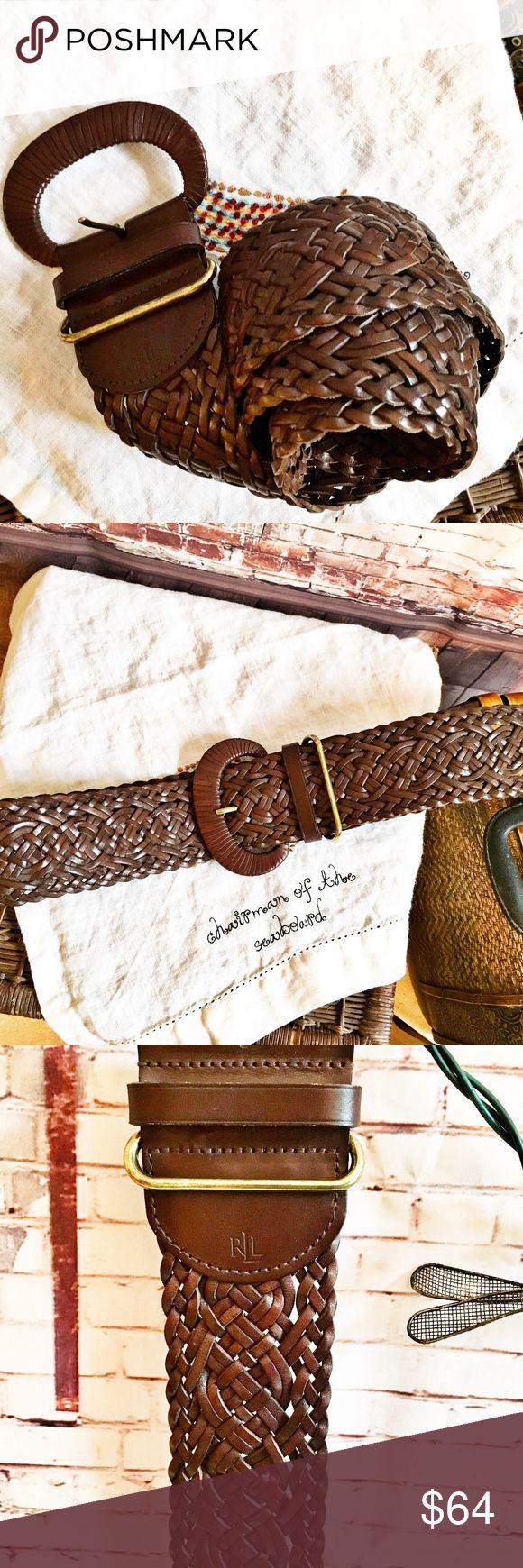 """LAUREN, RALPH LAUREN Brown Braided Belt LAUREN, RALPH LAUREN Brown Braided Belt Belt size is Medium.  Approx 36"""" long and 2"""" wide.  Buckle is approx 4"""" wide. Ralph Lauren Accessories Belts"""