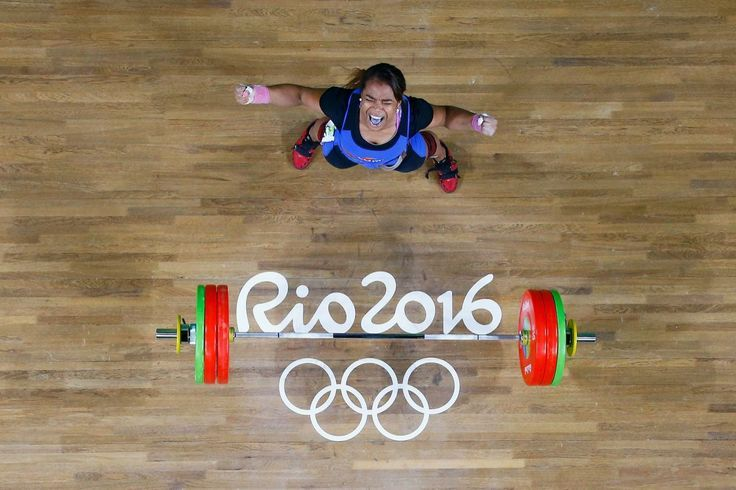 Leidy Yessenia Solis Arboleda of Colombia reacts after lifting during the Women's 69kg Group A weightlifting contest on Day 5 of the Rio 2016 Olympic Games at Riocentro – Pavilion 2 on August 10, 2016 in Rio de Janeiro, Brazil. (Photo by Stoyan Nenov/ Pool – Getty Images)