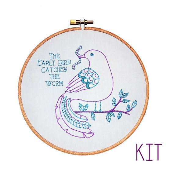 Embroidery Kit The Early Bird Catches the Worm by RosiesRagsCrafts