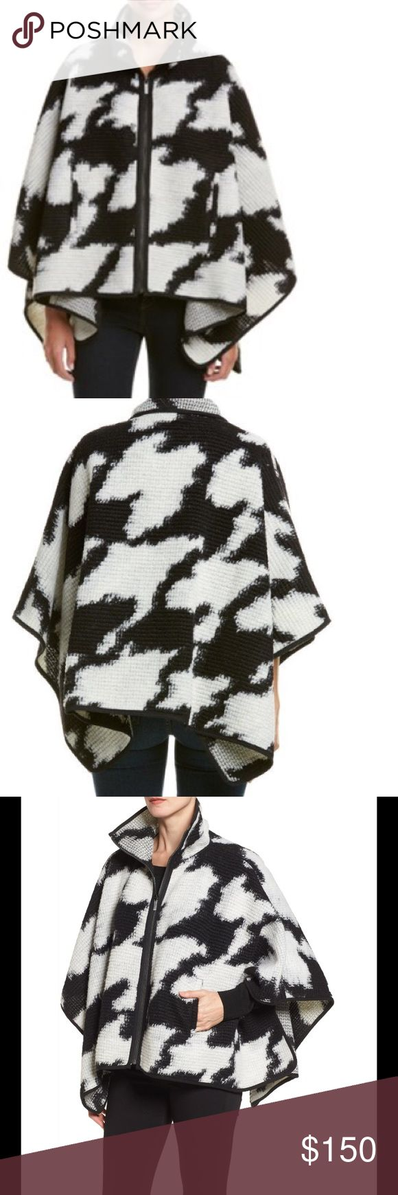 French Connection Women's Black and White Cape Beautiful Stylish French Connection Black and White Zip Front Houndstooth Poncho. Front Zip closure, Stand Collar, 51% Wool, 49% Polyester. New with tags. French Connection Jackets & Coats Capes