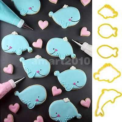 Details about 5x sea animal dolphin fish shape fondant for Fish shaped cookie cutters