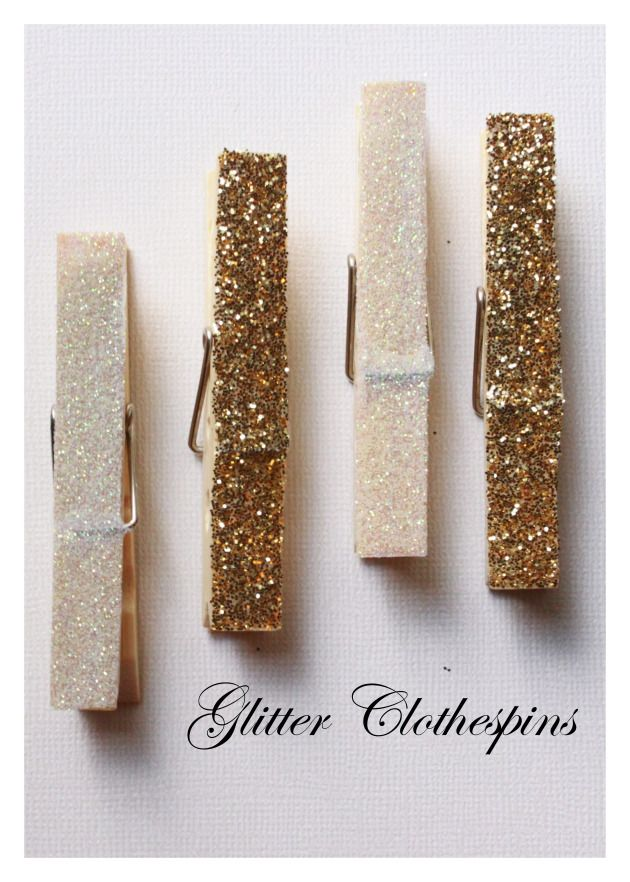 Glitter Clothes Pins for the card suitcase- I could put magnets on the back and they could go on my fridge