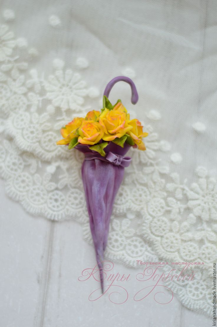 """Купить Брошь """"Зонтик"""" - желтый, сиреневый, брошь, брошь ручной работы, зонт, зонтик, розы"""