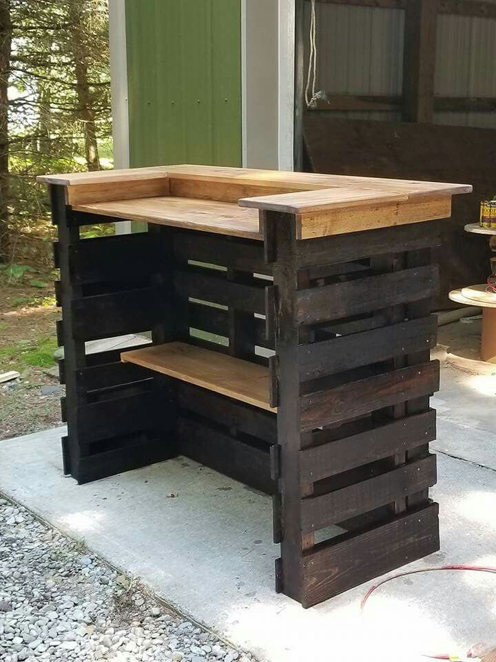Best 25 pallet bar stools ideas on pinterest pallet for Small pallet bar