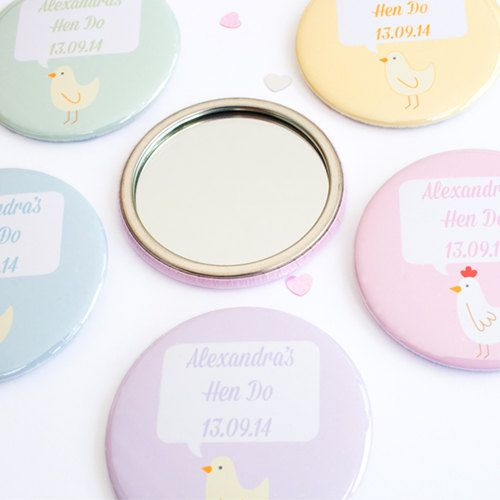 Hens and Chicks Hen Party Personalised Pocket Mirrors. Bachelorette Party, Hen Do. on Etsy, £4.95
