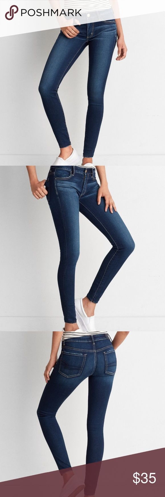 """AEO Denim X Jegging • NWOT, 6 Short, Super Stretch denim • High-performance stretch designed to hold its shape and hug your curves • Utilizes LYCRA® DualFX® technology for upgraded stretch  • Natural fibers give a super-soft feel & increased comfort • Low 8 3/4"""" rise • 13 7/8"""" back rise • 10"""" leg opening for a legging-like fit • Extended sizes available online • 60% Cotton, 21% Viscose, 17% Polyester, 2% Elastane • Machine Wash American Eagle Outfitters Pants Skinny"""
