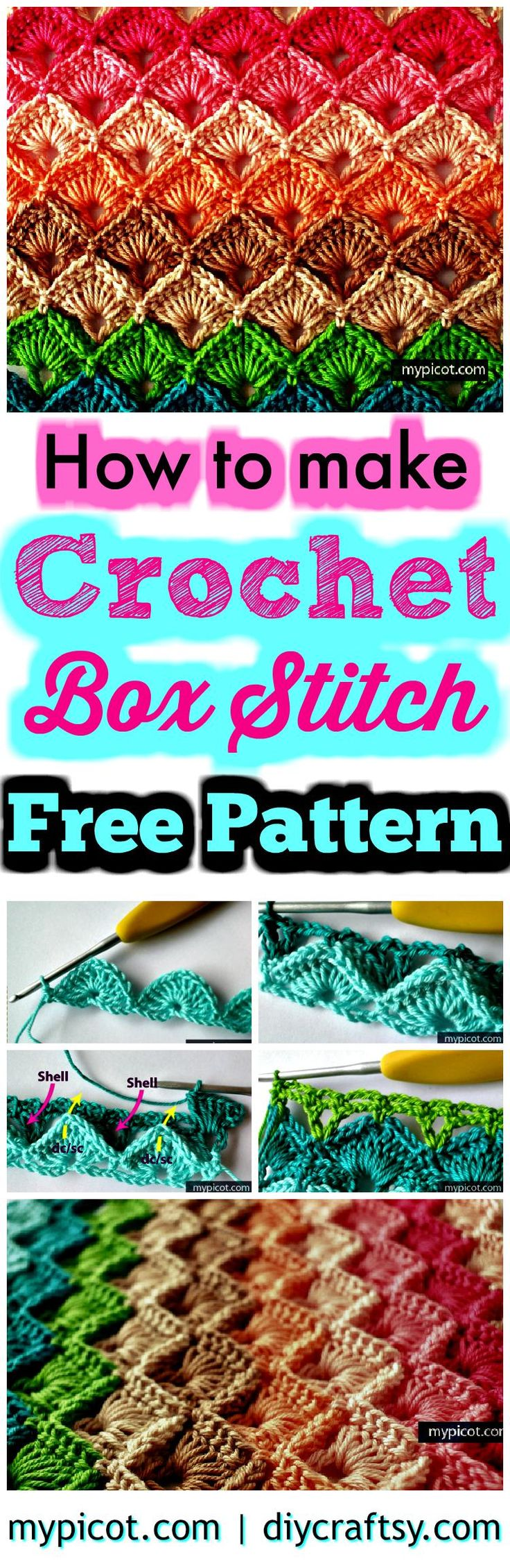 Crochet Box Stitch – Step by Step Instructions – Free Crochet Pattern