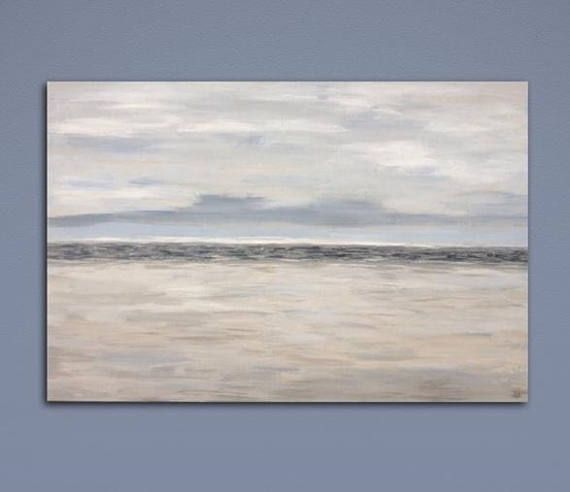 Large Abstract Landscape Painting Beige Gray White Wall Art Large
