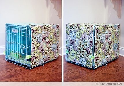 Tutorial: Sew a dog crate cover + spray paint metal kennel! They would chew up the cover, but I like the idea of spray painting the crate! Cute.