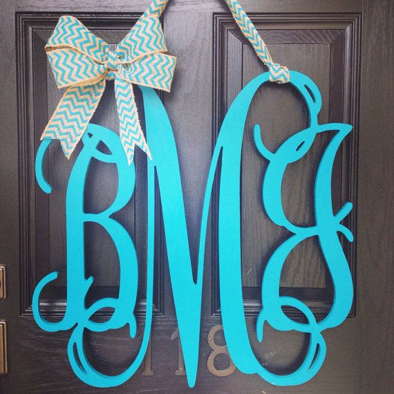 24x24 3 letter wooden front door monogram with bow // wooden monogram // turquoise monogram on Etsy, $105.00