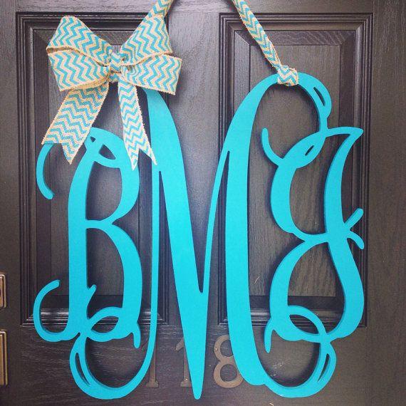 24x24 3 letter wooden front door monogram with bow // wooden monogram ...