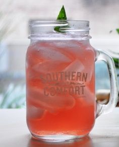 The Scarlett OHara Southern Comfort, Cranberry Juice, Club Soda, Lime Juice. I was sold at the name of this drink!