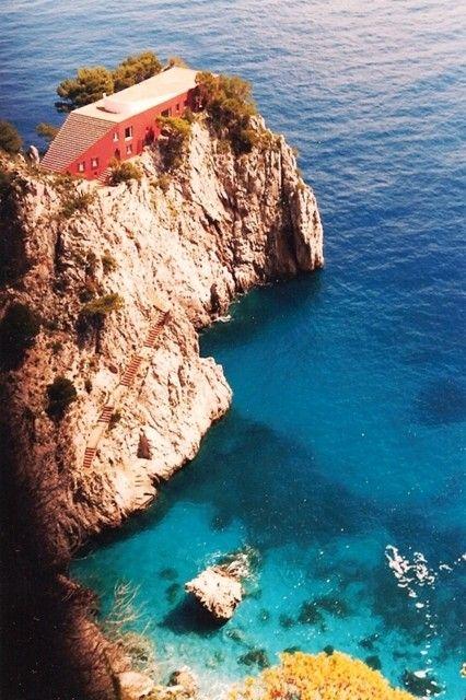 """Casa malaparte in capri—the house where brigitte bardot sunbathed in the film """"contempt""""."""
