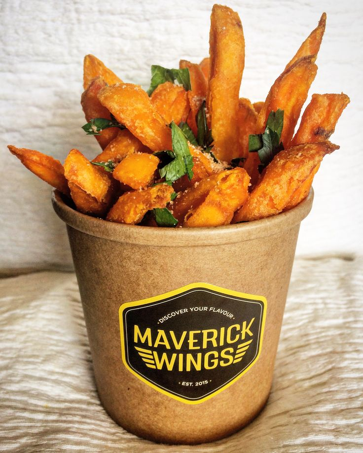 Maverick Wings® - Sweet Potato Chips, with smoked paprika seasoning and parsley flakes.   Sydney Australia Chicken Wings.