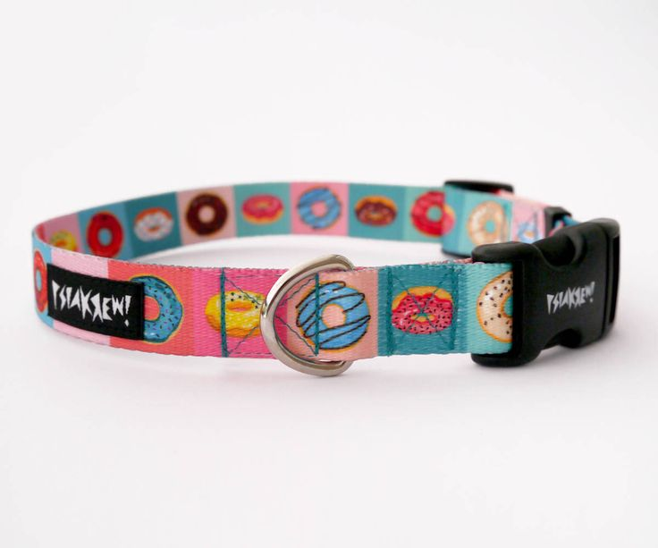 "Dog Collar Delicious Donut  2 cm, 0.78""  wide, Pet accessories Psiakrew Colorful Pet collars for small dogs and puppies by PSIAKREW on Etsy"