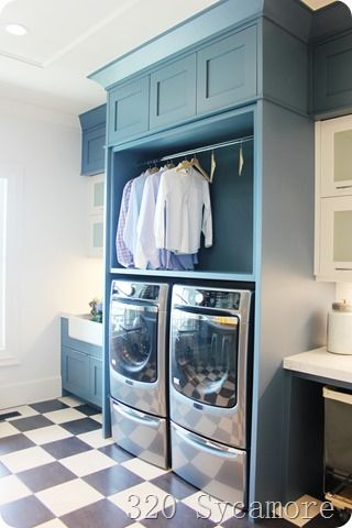 blue laundry with checkered floor