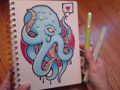 Affectionate Octopus by Virginia Poltrack