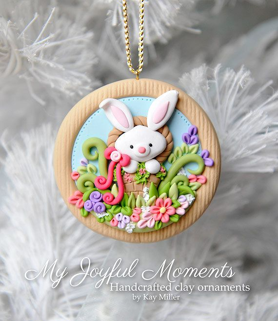 Handcrafted Polymer Clay Easter Bunny Scene by MyJoyfulMoments: