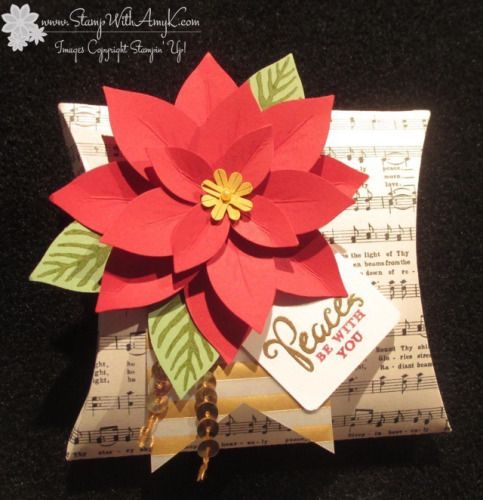 July 25, 2015  Stamp With Amy K: Stampin' Up! square pillow box die and poinsettia punch