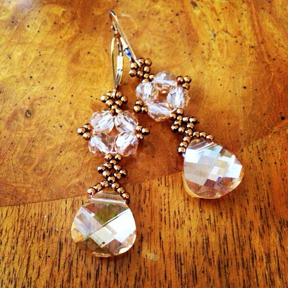 Swarovski gold crystal earrings gold earrings by AmyKanarekDesigns