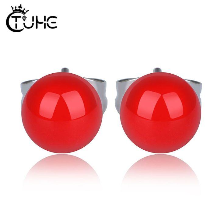 Winzige runde Kristall Ohrstecker Schraube Kugel Edelstahl Keramik Ohrringe Mini kleine rote Farbe Ohrring durchbohrt Ohr   – Products