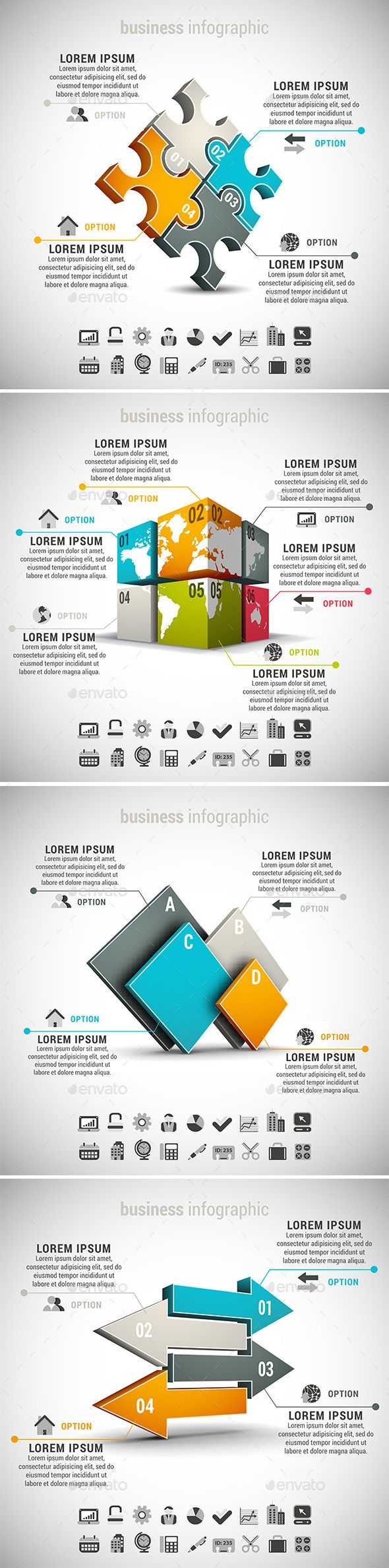 4 in 1 Business Infographics Bundle