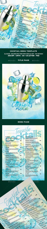 Cocktail Drinks Menu Template PSD. Download here: http://graphicriver.net/item/cocktail-drinks-menu/16694513?ref=ksioks