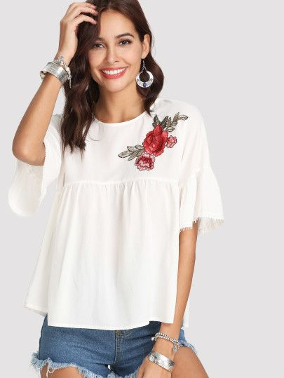 9d893e0e5c5c Lace Trim Embroidered Smock Top | Shein Fashion Style | Lace trim, Tunic  tops, Smocking