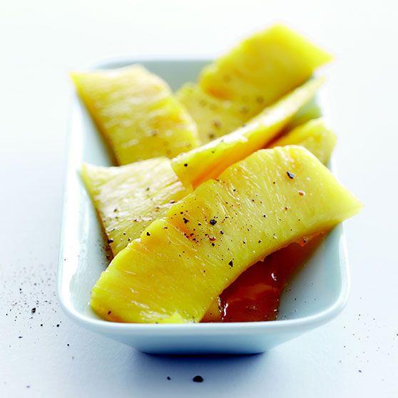 Karamelliseret ananas med lime og sirup - Opskrifter