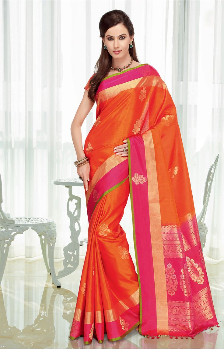 Orange pure silk saree with a wide pink and gold border - RmKV Silks
