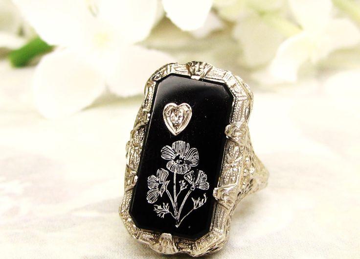 Antique Onyx & Diamond Ring Heart Motif Edwardian Engagement Ring 14K White Gold Filigree Peacock Wedding Ring Unique Engagement Ring!