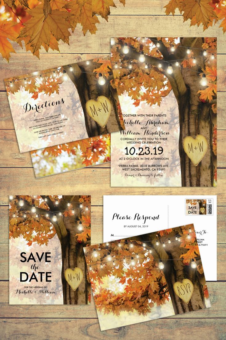 Rustic Fall Autumn Tree Twinkle Lights Matching Wedding Suite #rusticfallwedding