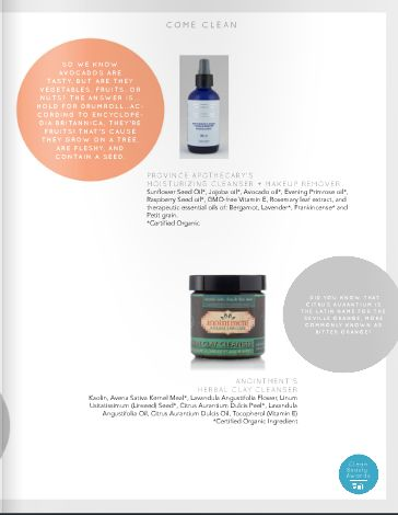 Anointment Herbal Clay Cleanser featured in Clean Beauty awards review of SLS-free Facial Cleansers.  June 2014.