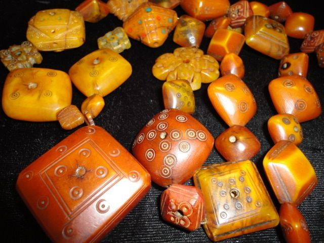 Antique African Coptic amber beads.