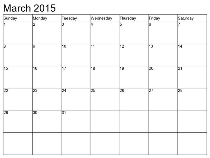 Download Printable March 2015 Calendar Cute March 2015 Calendar – Blank Monthly Calendar Template Word