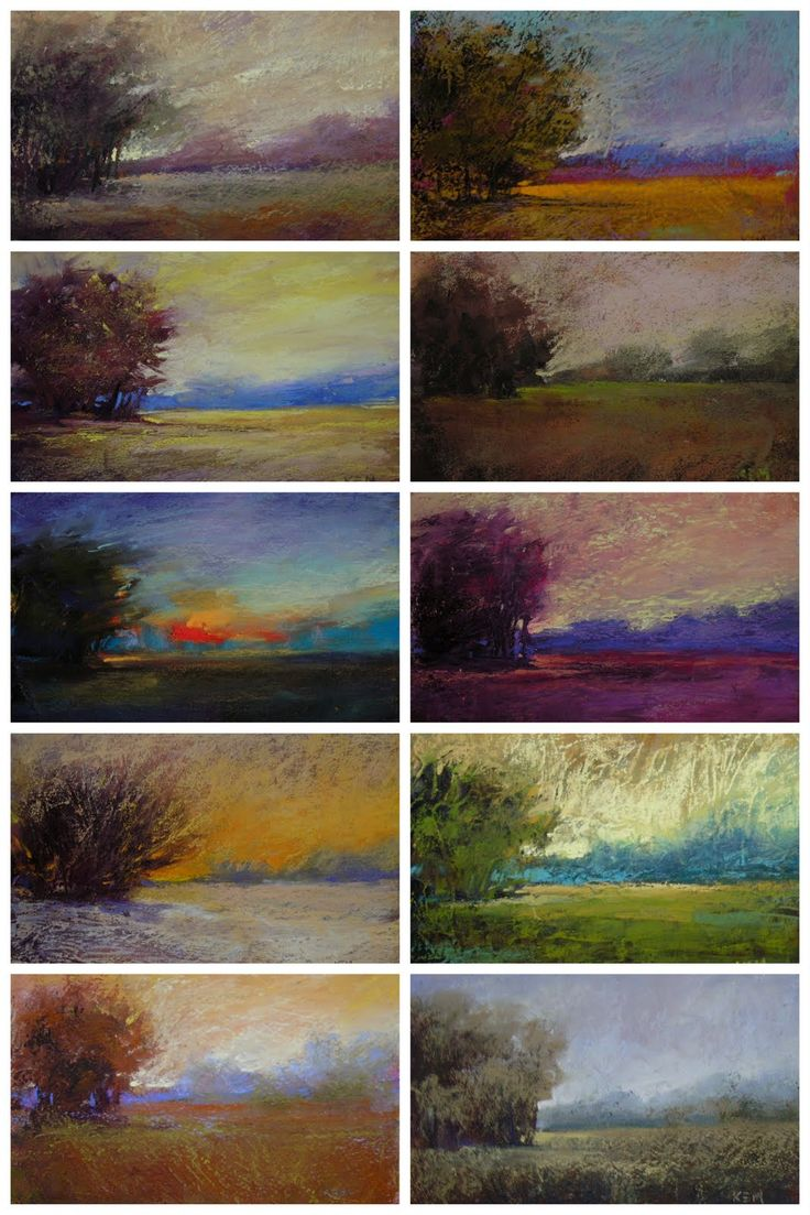 100 pastel paintings of the same landscape Karen Margulis
