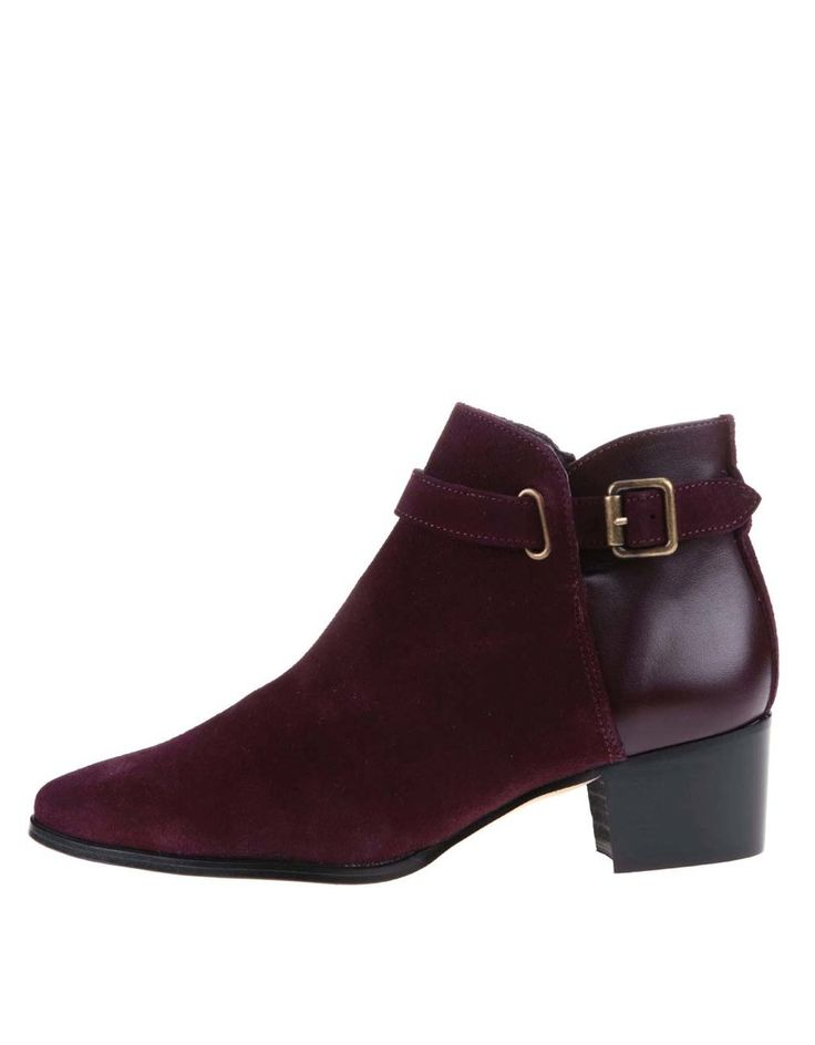 OJJU - Vínové kožené kotníkové boty na podpatku - 1