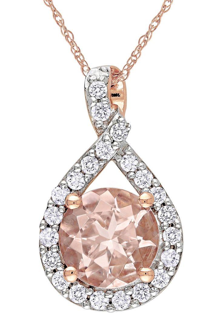Rose Gold Round Morganite & Diamond Swirl Pendant Necklace